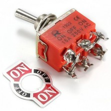 Interrupteur à levier On/Off/On 250 V 15A - DPDT - 6 broches
