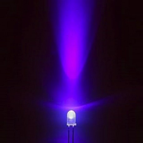 Led Violet Ultra-Violet Claire 5 mm - 3,0 à 3,4V DC